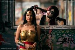 Rae Johnston and Eve Beauregard as Injustice Wonder Woman and Harley Quinn