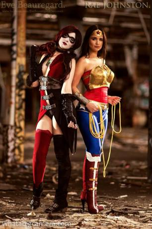 Eve Beauregard and Rae Johnston as Injustice Harley Quinn and Wonder Woman