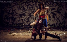 Eve Beauregard and Rae Johnston as Injustice Harley Quinn and Wonder Woman